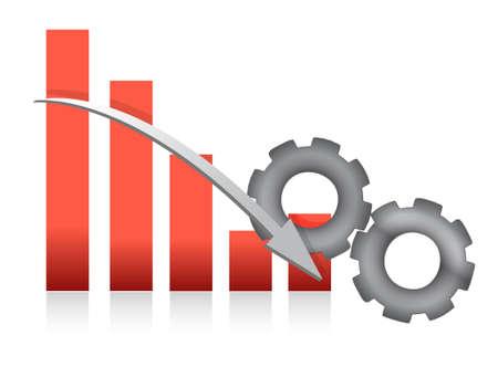 falling Bar chart production illustration design over white Ilustração