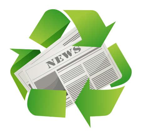 白い背景の上の新聞デザインをリサイクルします。  イラスト・ベクター素材