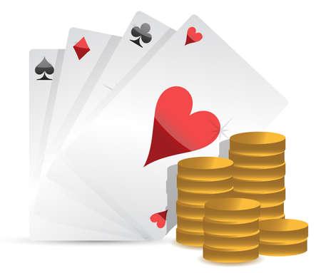 ポーカーのカードと白い背景の上のギャンブルのお金