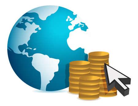 白い背景の上の世界的な金融概念イラスト デザイン
