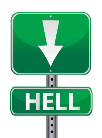 hell green street sign illustration design over white Stock Vector - 12784718