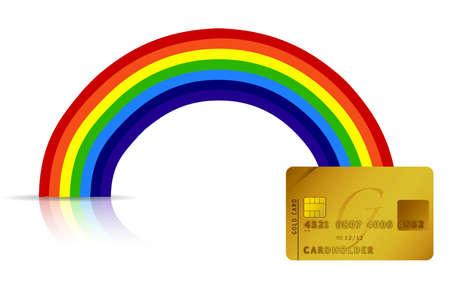 the end of a rainbow: tarjeta de cr�dito en el extremo del arco iris dise�o ilustraci�n