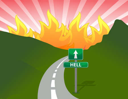 Road to hell concept illustration design Vector