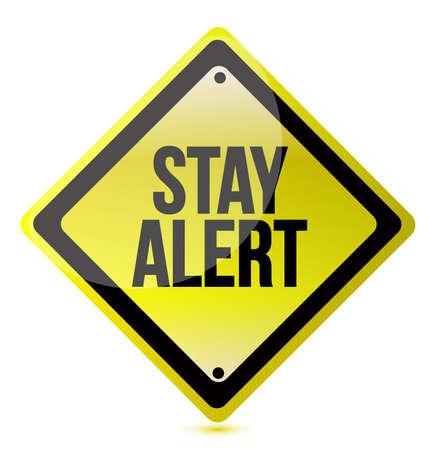 stay alert: Stay alert yellow illustration design over white background