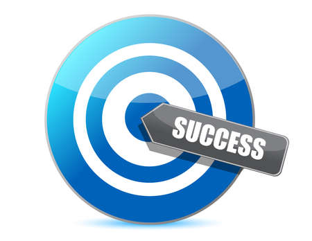 blue target success illustration design over white background Vector