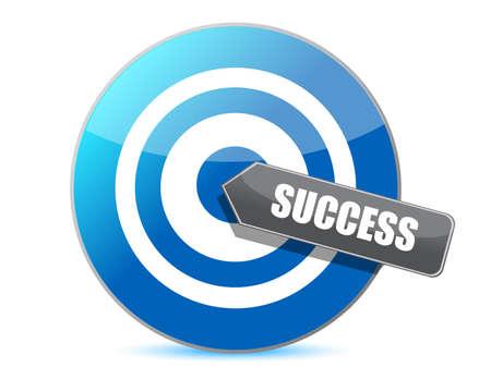 blue target success illustration design over white background Иллюстрация
