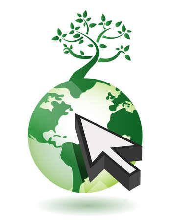 白の矢印イラスト デザインと地球上のツリー