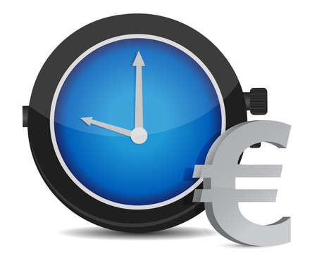 period: Time is money euro concept illustration on white Illustration