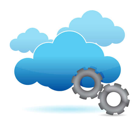 centralized: cloud computing and gear illustration design over white Illustration