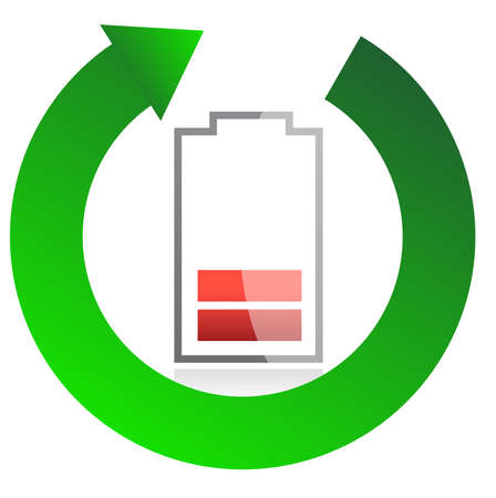 recharge: battery recycling concept illustration design over white Illustration