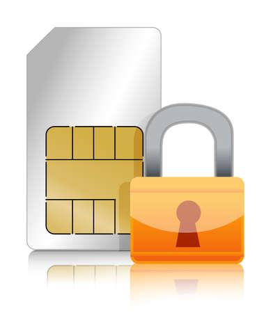 secure: Sim cart with padlock illustration design over white