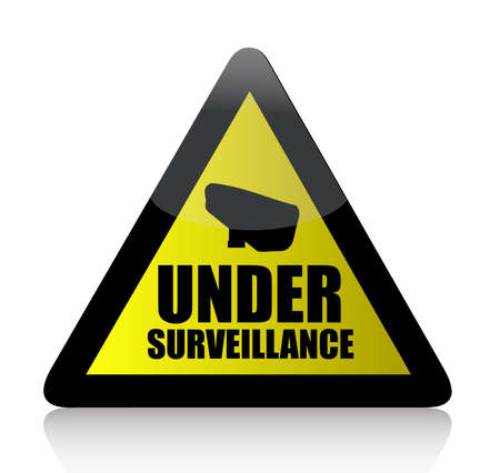 security monitor: yellow surveillance sign, illustration design over white Illustration