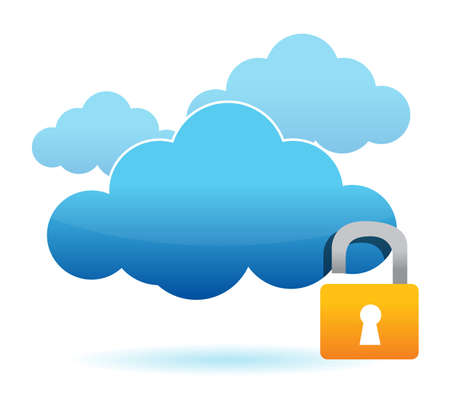 unlock cloud computer unsafe concept illustration design Vector