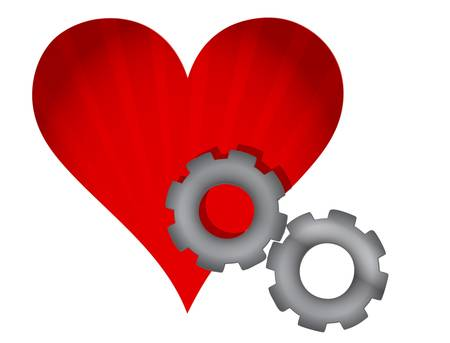 pacemaker: red heart and gears illustration design over white