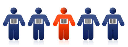 trafficking: Bar code and people illustration design over white