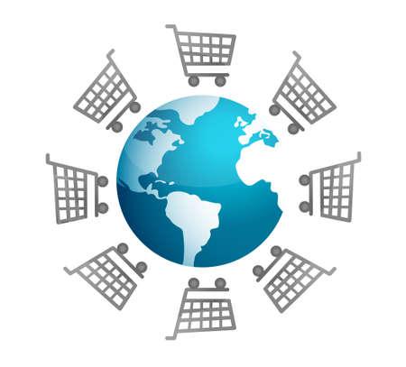 shopping buggy: Shopping carts around the world, global market concept Illustration