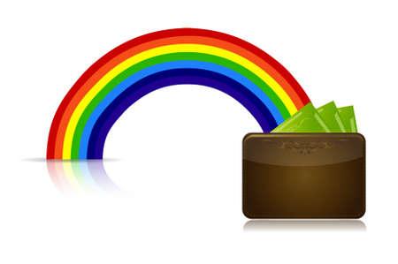 the end of a rainbow: cartera al final de un dise�o ilustraci�n arco iris Vectores