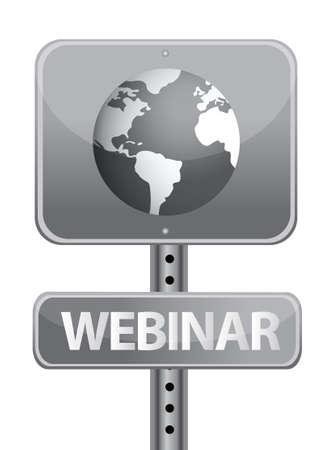 webinar street sign and globe illustration design Stock Vector - 12784756