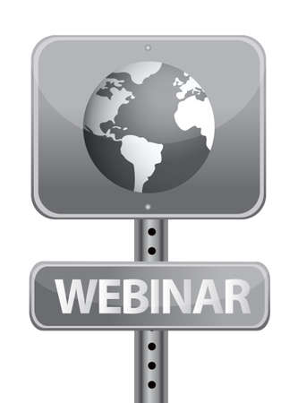 networked: webinar street sign and globe illustration design