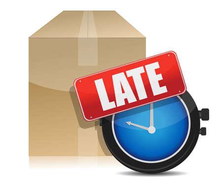 cuadro de retraso en la entrega y el diseño de la ilustración reloj en blanco
