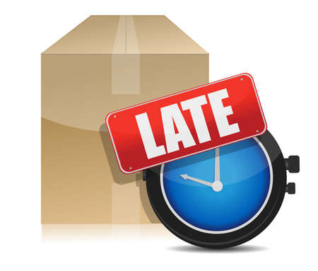 shipments: late delivery box and watch illustration design on white