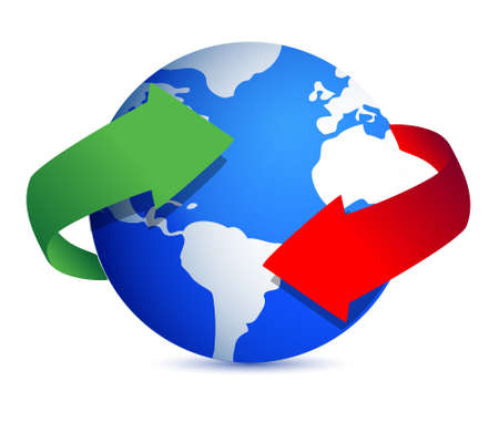 globe illustration with arrows around over white