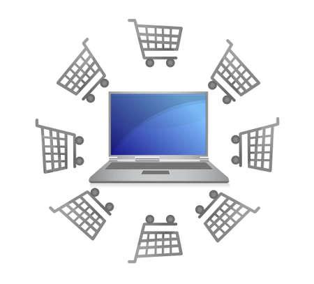 E-commerce concept -shopping carts around laptop Stock Vector - 12950804