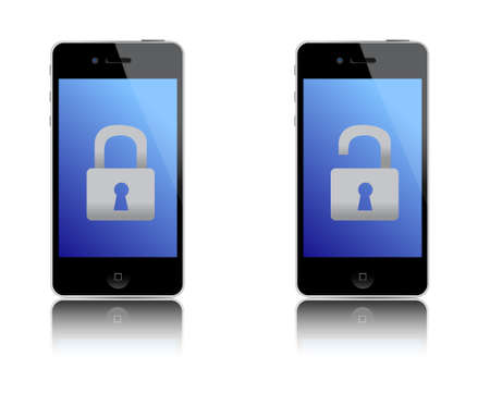 unprotected: locked and unlocked phones illustration design over white