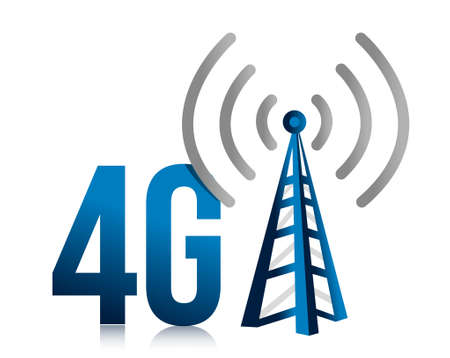 phone: 4G speed tower connection illustration design over white