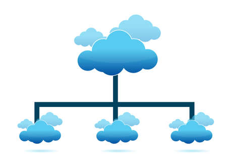 Diagramm von Cloud Computing, Illustration, Design in wei� Stockfoto - 13110489