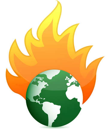 burning eco earth globe illustration design over white Stock Vector - 13110493