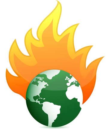burning eco earth globe illustration design over white