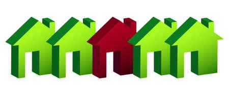 row of houses: hilera de casas de dise�o, ilustraci�n m�s de blanco