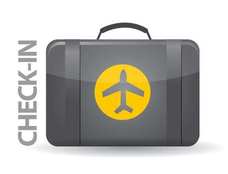check in: Check-in bag illustration design over white background Illustration