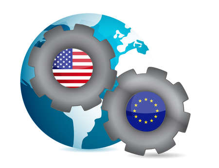4 wheel: us and european union working together illustration design