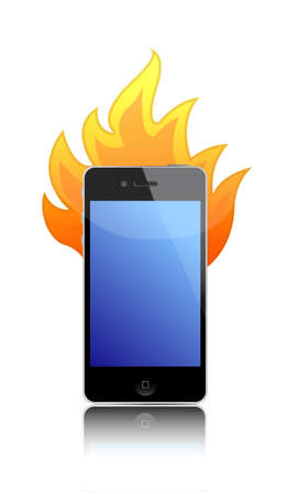 cell phone on fire over a white Vector