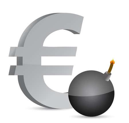 白で爆発的なユーロの利益シンボル イラスト デザイン