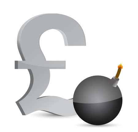 白で爆発的なポンドの利益シンボル イラスト デザイン