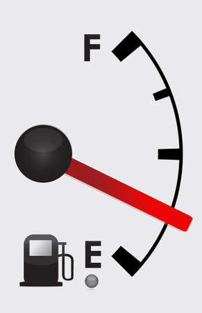 miernik: Szczegółowy zbiornik gazu prawie pusty - projekt ilustracji