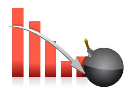 deteriorate: graph explosive fall illustration over a white background