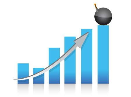 explosive profits graph illustration design over white back Stock Vector - 13678570