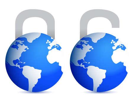 lock and unlock globes illustration design over white back Ilustração
