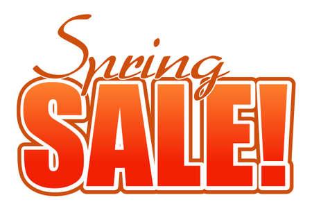 spring sale orange illustration sign over white background