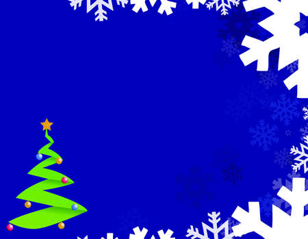 Blue background with snowflakes and christmas tree Vector