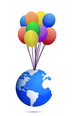 planeta tierra feliz: planeta y de bonito diseño, ilustración de globos sobre blanco Vectores