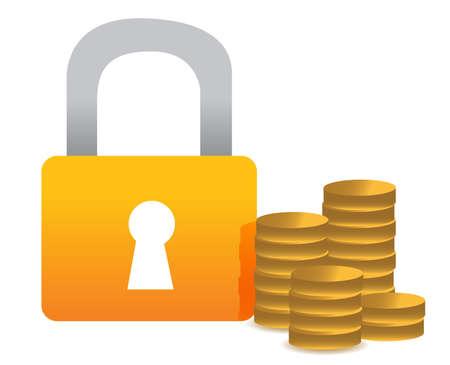 Locked money illustration concept design over white Stock fotó - 13682780
