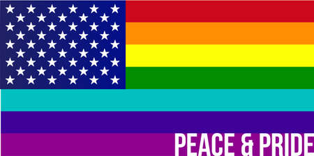 gay pride flag: Flag of Rainbow united states illustration design