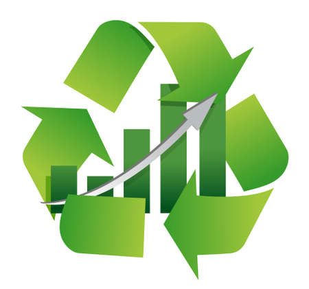 recycling center: recycling symbol with a bar chart in center illustration design