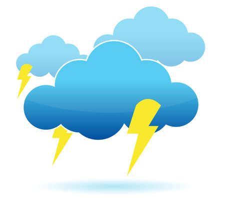 Thunder cloud and lightning illustration over white background