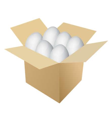 eggs inside a box illustration over white Stock Vector - 13699007